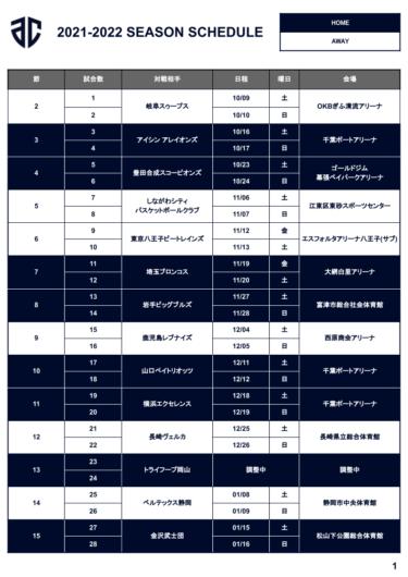 アルティーリ千葉の試合日程(スケジュール)まとめ